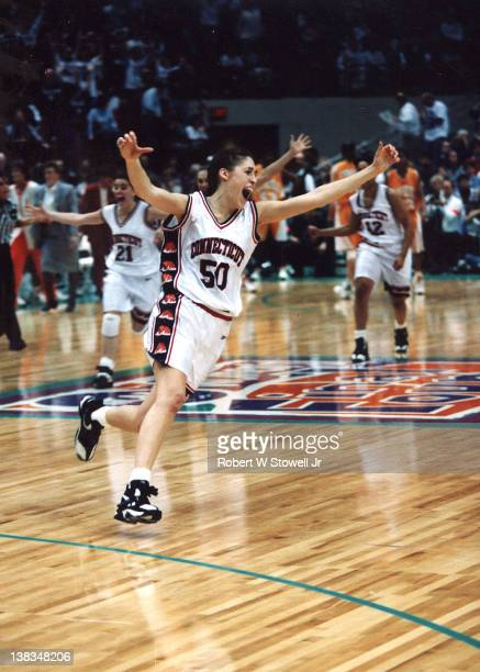 American basketball player Rebecca Lobo of the University of Connecticut celebrates her team's victory over Tenessee to win the NCAA National...
