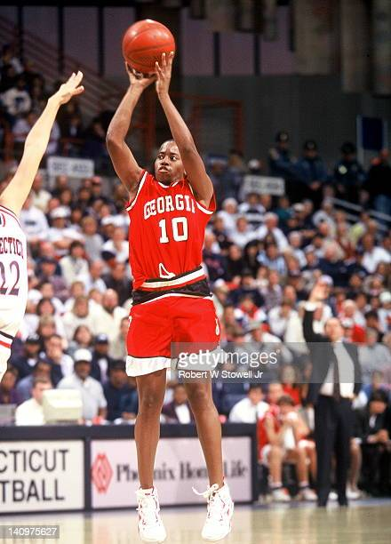 American basketball player Saudia Roundtree of the University of Georgia takes a jumpshot during a game against the University of Connecticut,...