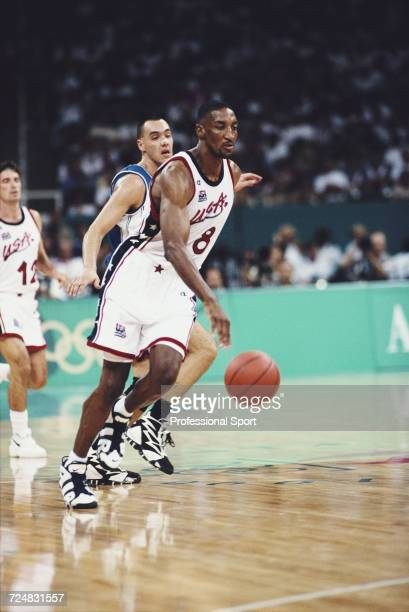 American basketball player Scottie Pippen pictured in action for the United States basketball team to progress to finish in first place in the...