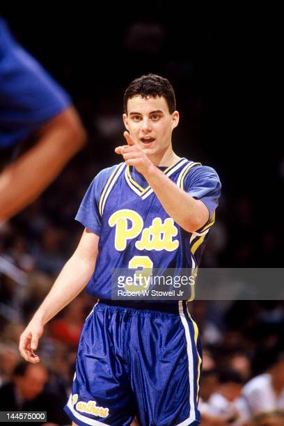 American basketball player Sean Miller of the University of Pittsburgh on the court during a game against the University of Connecticut Hartford...