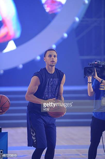 American basketball player Stephen Curry attends a commercial event on September 8 2015 in Shanghai China