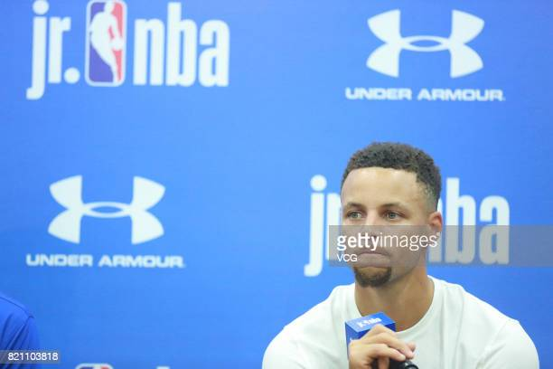 American basketball player Stephen Curry attends an activity at Imperial Ancestral Temple during his visit in Beijing on July 22 2017 in Beijing China