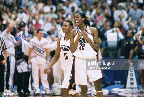 American basketball player Swin Cash of the University of Connecticut celebrates during NCAA East Regional final Storrs Connecticut 1999