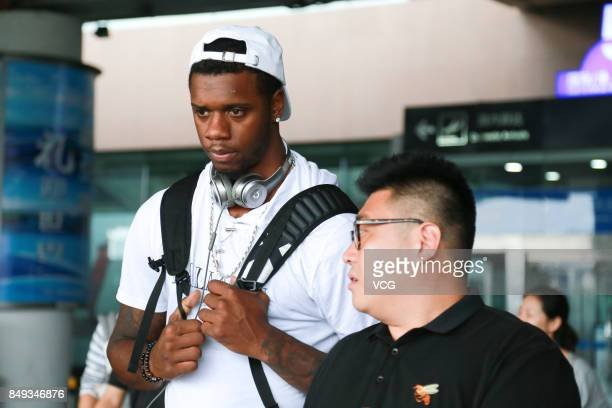 American basketball player Terrence Jones arrives at Qingdao Liuting International Airport after signing a contract with the Qingdao Eagles...