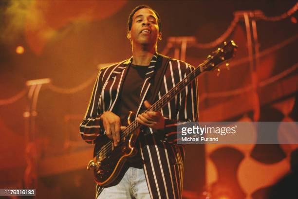 American bass guitarist Stanley Clarke performs live on stage at the Guitar Legends concert in Seville, Spain in October 1991.
