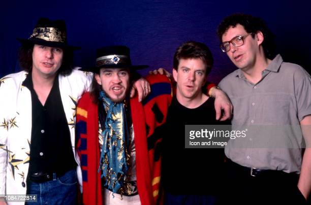 American bass guitarist Tommy Shannon, American musician, singer Stevie Ray Vaughan , drummer Chris Layton and keyboardist Reese Wynans of the group...