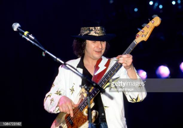 American bass guitarist Tommy Shannon of Stevie Ray Vaughan and Double Trouble plays on stage during the Soul to Soul Tour on September 27, 1985 at...