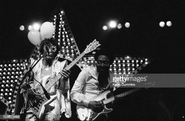 American bassist and singer Bootsy Collins and his brother Catfish Collins performing with Bootsy's Rubber Band at the Apollo Manchester 23rd June...