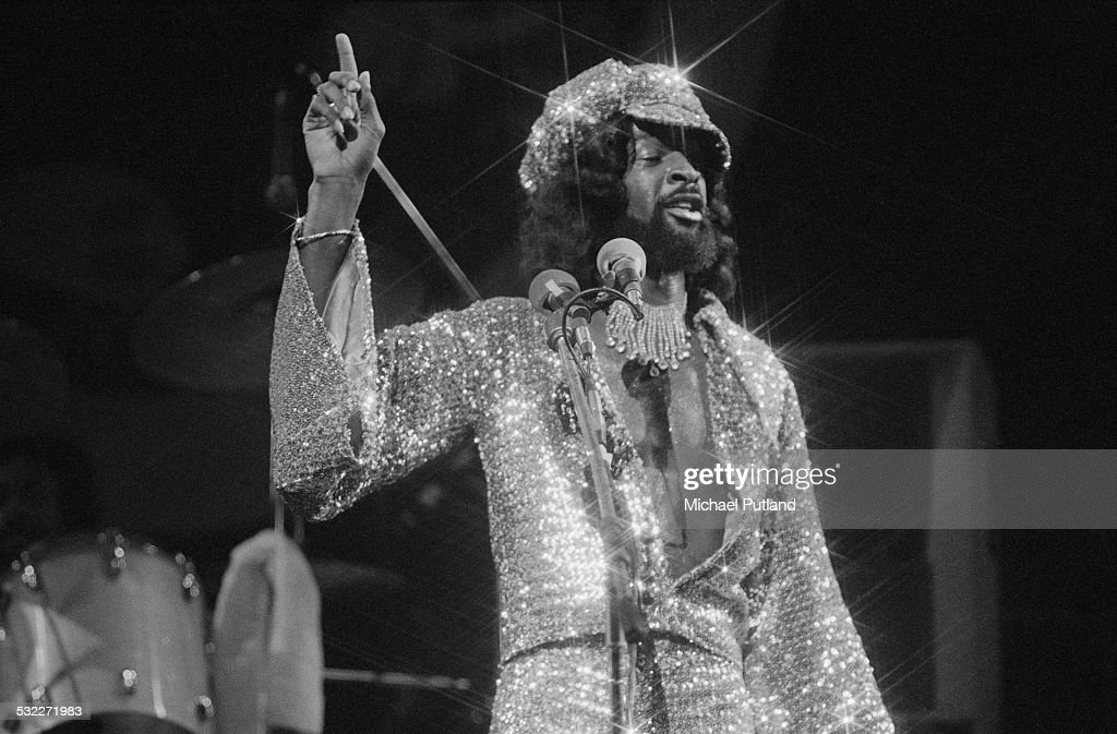 American bassist Larry Graham performing with funk group Graham Central Station, 20th January 1975.