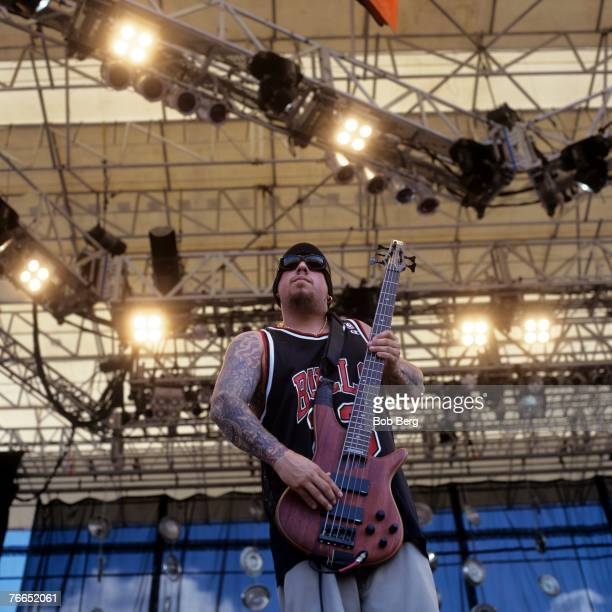 Korn's basssist Reginald Fieldy Arvisu perfoms at Lollapalooza 1995 at Randalls Island New York