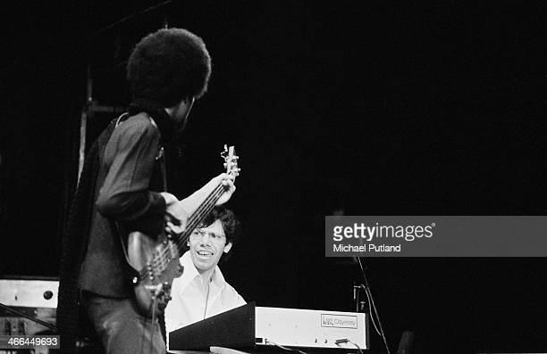 American bassist Stanley Clarke and pianist Chick Corea performing with jazz fusion group Return to Forever, March 1974.