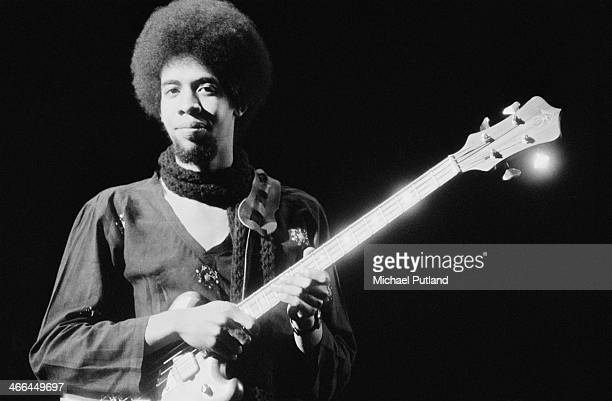 American bassist Stanley Clarke performing with jazz fusion group Return to Forever, March 1974.