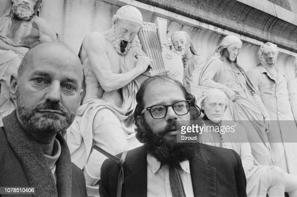 American Beat poets Lawrence Ferlinghetti and Allen Ginsberg at the Albert Memorial in South Kensington London 11th June 1965 They are due to take...