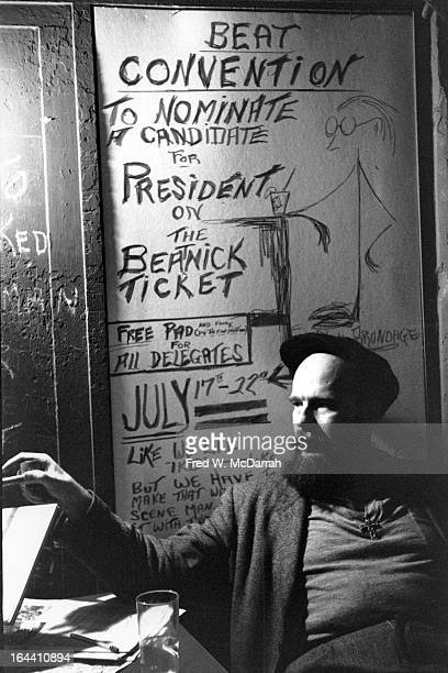 American Beatnik Presidential candidate William Lloyd Smith sits at a table in the College of Complexes bar , New York, New York, August 15, 1960....
