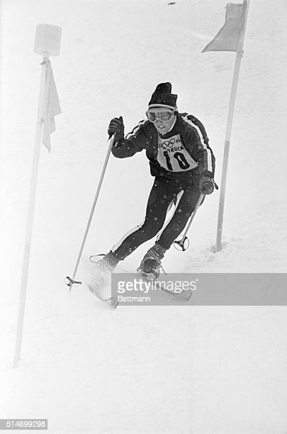 American Billy Kidd skis in the men's slalom race at the Innsbruck Winter Olympics in 1964. Kidd won the silver medal for the event. | Location:...