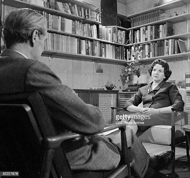 American biologist and naturalhistory writer Rachel Carson is interviewed by American news reporter Eric Sevareid on her book 'Silent Spring' a...