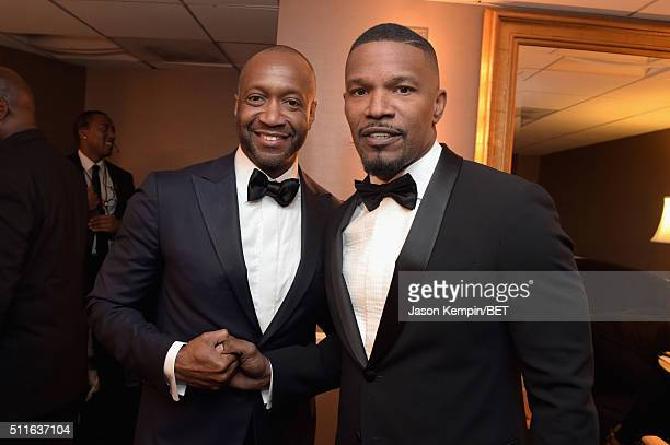 American Black Film Festival founder Jeff Friday and actor Jamie Foxx pose backstage at the 2016 ABFF Awards A Celebration Of Hollywood at The...