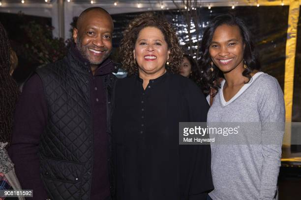 American Black Film Festival Founder Jeff Friday Anna Deavere Smith and Nicole Friday attend the HBO 'Notes from the Field' Sundance dinner at The St...