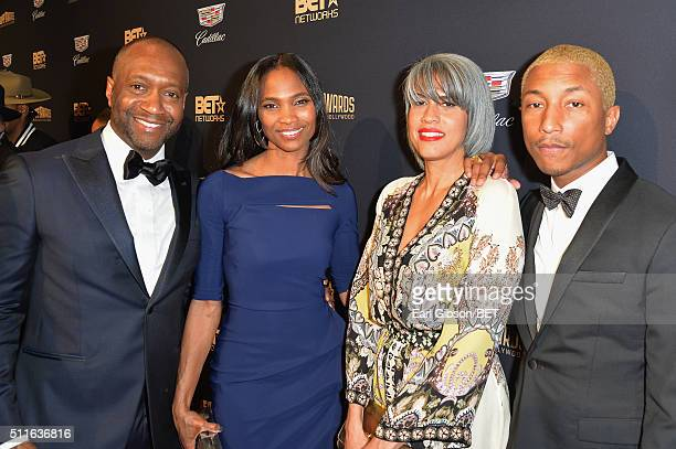 American Black Film Festival founder Jeff Friday Nicole Friday Mimi Valdes and musician Pharrell Williams attend the 2016 ABFF Awards A Celebration...