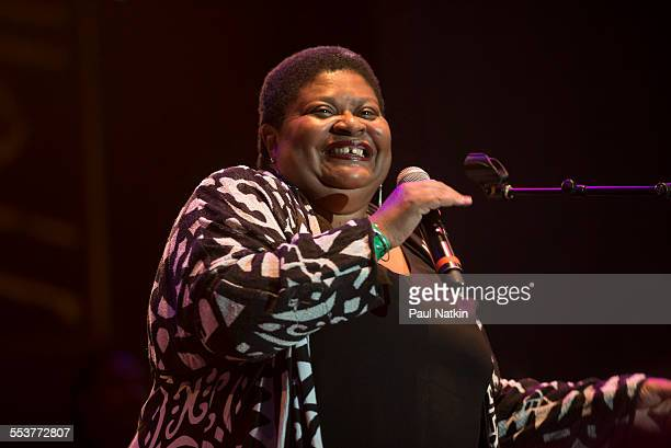 American Blue singer Dietra Farr performs onstage during the Chicago Blues Festival at the Petrillo Bandshell in Grant Park Chicago Illinois June 9...