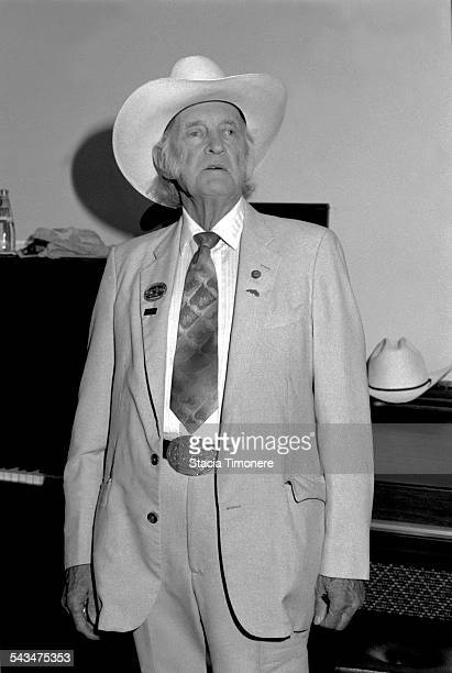 American bluegrass musician singer and songwriter Bill Monroe backstage at The Old Town School of Folk Music in Chicago Illinois USA 15th September...