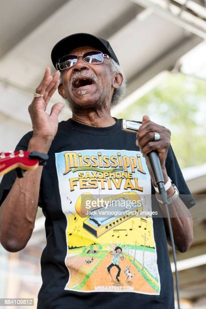American Blues and RB musician Lazy Lester performs with the Rockin' Johnny Band on the Front Porch Stage at the 33rd Annual Chicago Blues Festival...