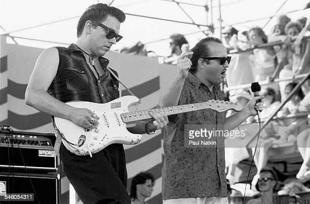 American Blues and rock group the Fabulous Thunderbirds perform onstage at the Farm Aid benefit concert Austin Texas July 4 1986