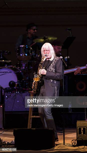 American Blues and Rock musician Edgar Winter plays saxophone as he performs onstage during Lead Belly Fest at Carnegie Hall New York New York...