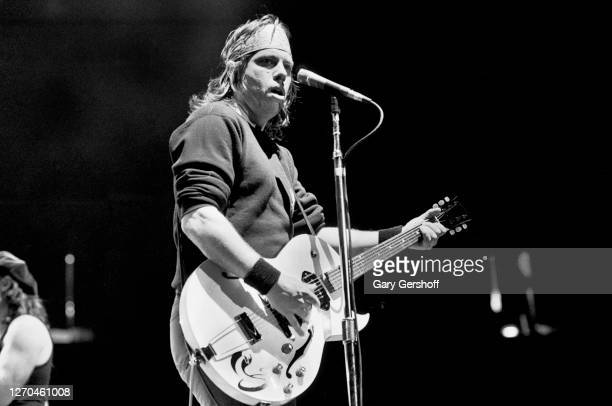 American Blues and Rock musician George Thorogood plays electric guitar as he performs onstage at Brendan Byrne Arena , East Rutherford, New Jersey,...