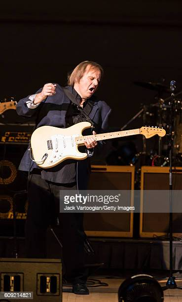 American Blues and Rock musician Walter Trout plays guitar as he performs onstage during Lead Belly Fest at Carnegie Hall New York New York February...