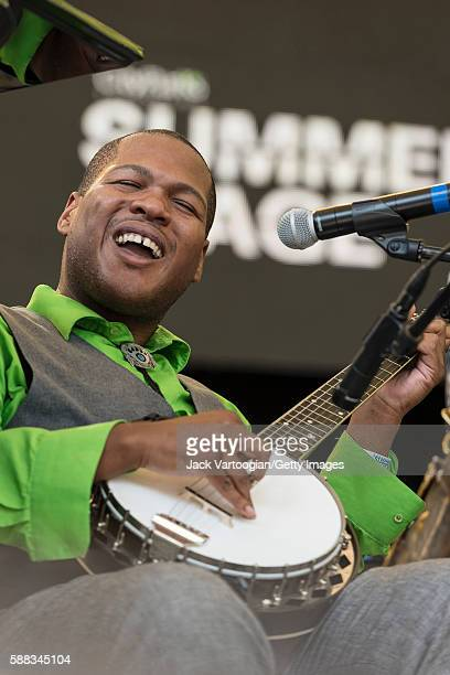 American Blues and Swing Jazz musician Jerron 'Blind Boy' Paxton plays banjo as he performs with Bria Skonberg the NY Hot Jazz Festival AllStars at...