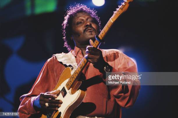 American blues guitarist Albert Collins performs live on stage at the Guitar Legends concert in Seville Spain in October 1991