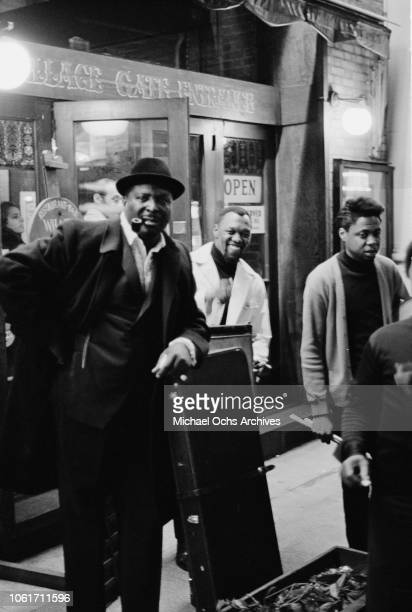 American blues guitarist Albert King outside the Village Gate nightclub in Greenwich Village New York City 11th April 1969