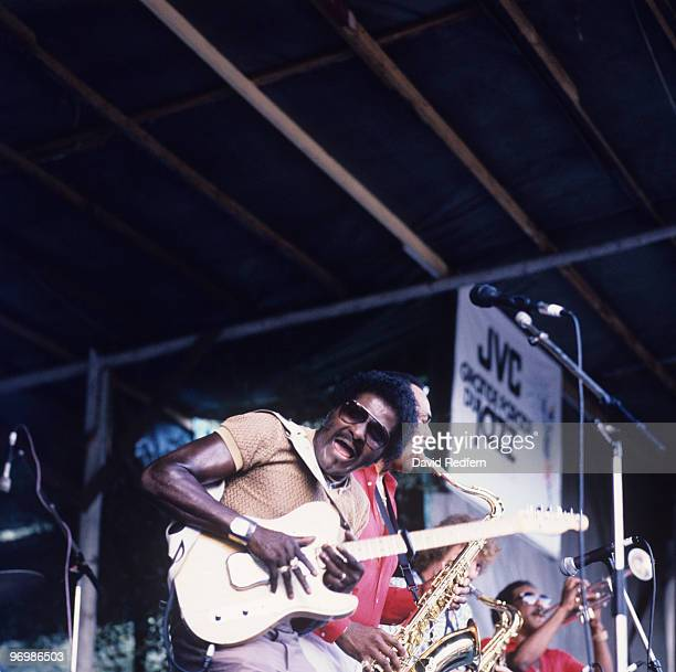 American blues guitarist Albert Collins performs on stage at the Nice Jazz Festival held in Nice France in July 1983