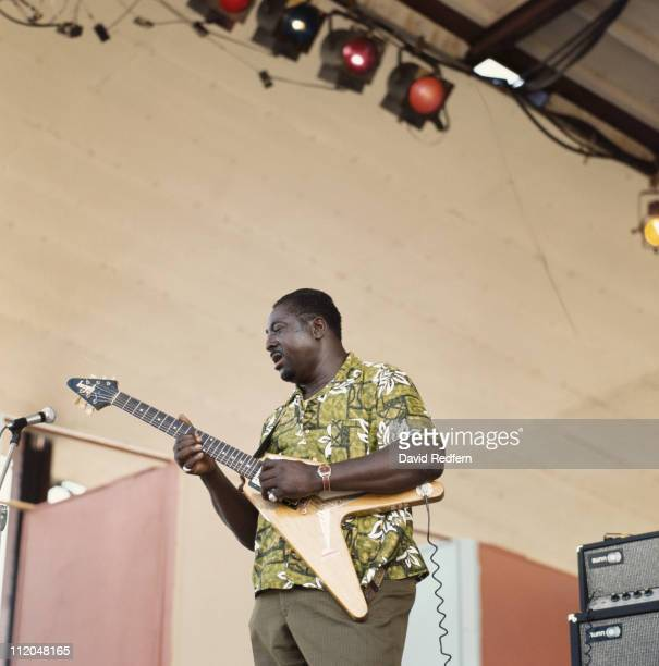 Albert King US blues guitarist and singer performs on stage during the Newport Jazz Festival held in Newport Rhode Island USA on 12 July 1970