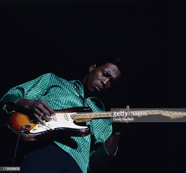 Buddy Guy US blues guitarist playing the guitar during a live stage performance at the American Folk Blues Festival at Hammersmith Odeon in London...