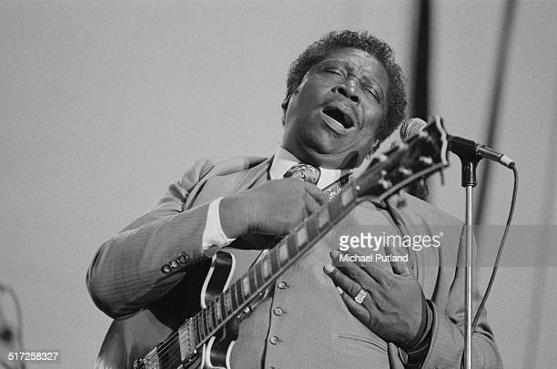 American blues guitarist ansd singer BB King performing at the Capital Radio Jazz Festival at Knebworth House Hertfordshire 17th July 1982