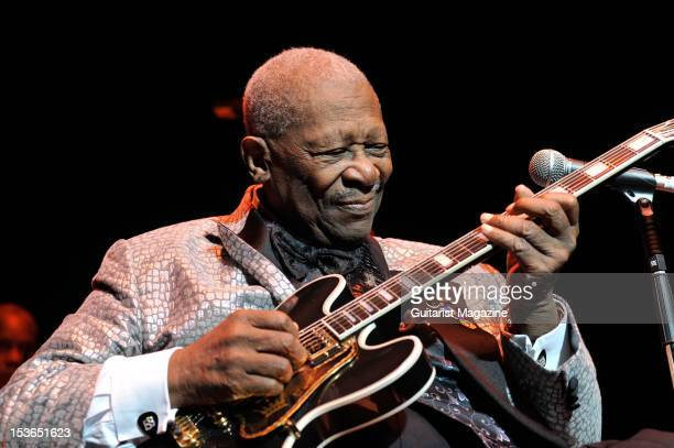 American blues guitarist BB King performing live on stage with his band at the Royal Albert Hall June 28 2011