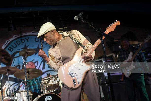 American blues guitarist Buddy Guy performs on stage at Buddy Guy's Legends in Chicago Illinois January 19 2019