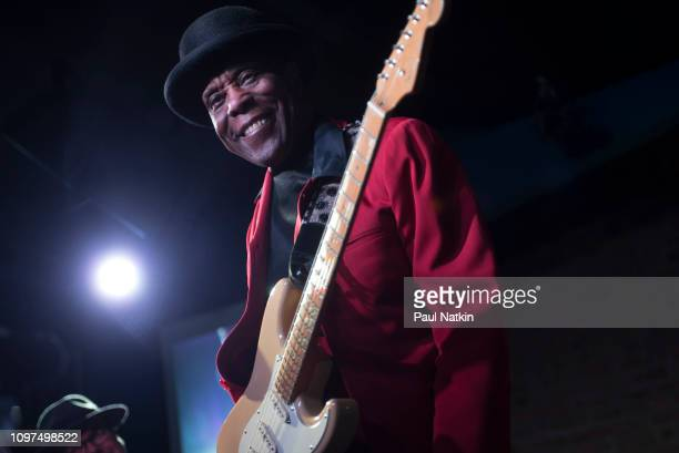 American blues guitarist Buddy Guy performs on stage at Buddy Guy's Legends in Chicago Illinois January 20 2019