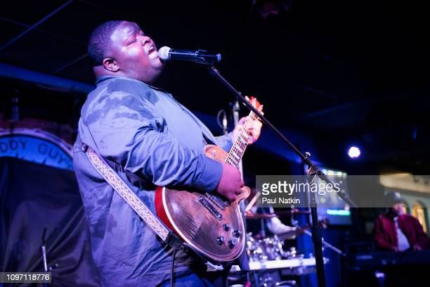 American blues guitarist Christone 'Kingfish' Ingram performs on stage at Buddy Guy's Legends in Chicago Illinois January 18 2019