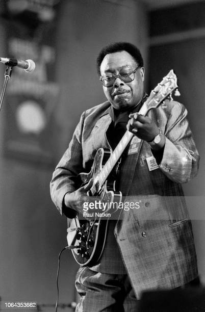American blues guitarist Jimmy Rogers performs on stage at the Petrillo Bandshell in Chicago Illinois June 11 1989