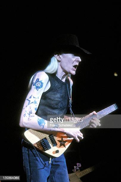 American blues guitarist Johnny Winter plays at Vredenburg in Utrecht, Netherlands on 12th February 1987.