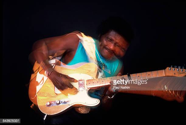 American blues musician Albert Collins performs Chicago Illinois October 12 1987