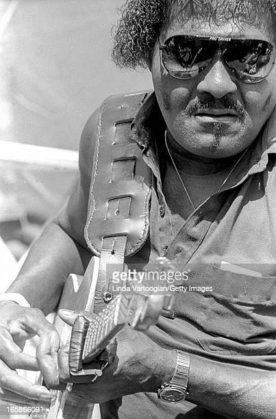 American Blues musician Albert Collins performs on the Front Porch Stage at the 9th Annual Chicago Blues Festival in Grant Park Chicago Illinois June...
