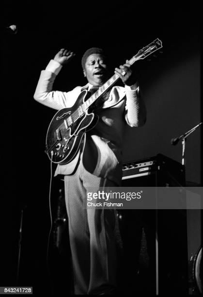 American Blues musician BB King plays guitar as he performs onstage at Northern Illinois University DeKalb Illinois 1971