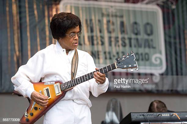 American Blues musician Bobby Parker performs onstage at the Petrillo Bandshell Chicago Illinois June 12 2010