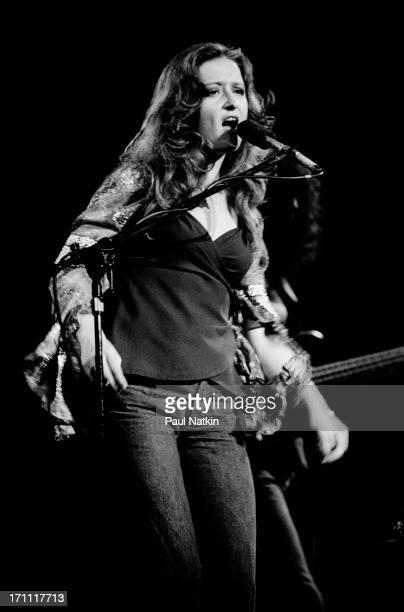 American blues musician Bonnie Raitt performs onstage at the Cahn Auditorium Evanston Illinois May 12 1976
