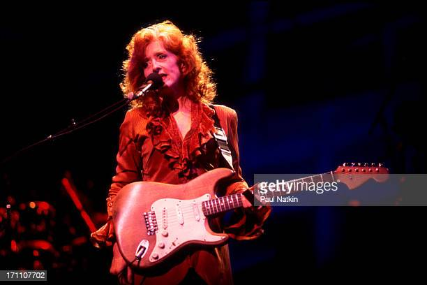 American blues musician Bonnie Raitt performs onstage at the Verizon Center Indianapolis Indiana August 1 1991