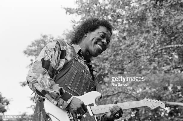 American Blues musician Buddy Guy plays guitar as he performs onstage at Central Park's SummerStage New York New York June 19 1993